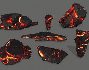 3D asset VR / AR ready lava rocks snow