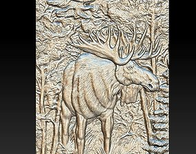 Elk in the forest - relief -2019 3D print model
