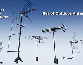 Set of outdoor TV Antennas 3D model realtime