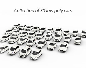 Collection of 30 low poly cars 3D model