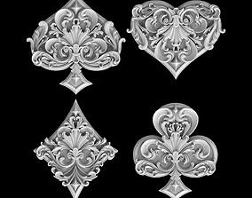 spades clubs hearts diamonds 3D print model