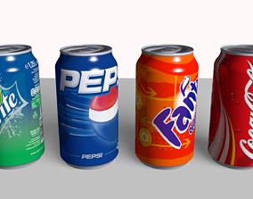 dinner 3D model Coke Fanta Pepsi Sprite Can