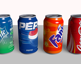 Coke Fanta Pepsi Sprite Can 3D model soda