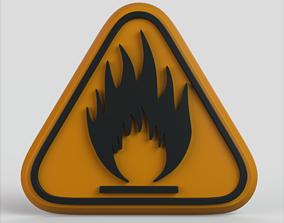 Warning Flammable 3D asset