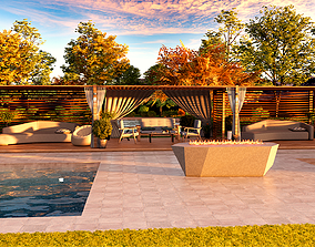 Modern pool lounge with firepit 3d model low-poly
