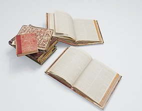 3D asset low poly Medieval Books