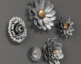 3D model Gray 5 Piece Galvanized Metal Flower Hanging 2