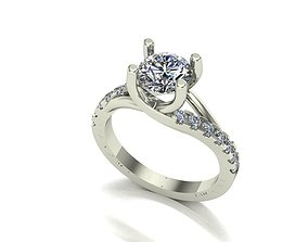 Engagement ring 3D printable model platinum