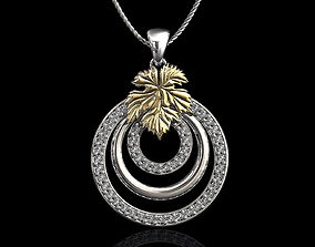 3D print model Leaf pendant with diamond