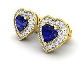 heart shape Diamond earrings for woman 3D print model