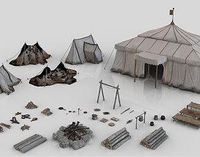 Set of 44 Medieval Camping Assets 3D model