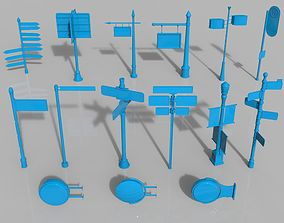 banner Guideposts - 15 pieces 3D model
