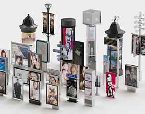 VR / AR ready street billboard collection 3d model