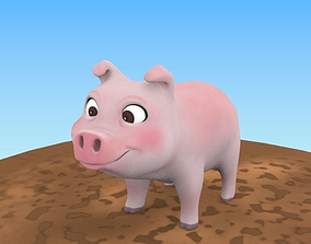 Low Poly Pig 3D asset