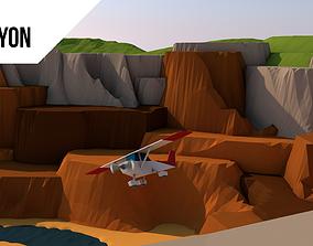 low poly canyon 3D asset