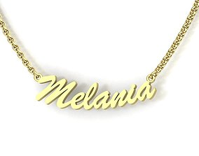 Name Necklace MELANIA delicate 3dmodel personolized