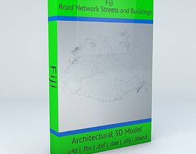 Fiji Road Networks Streets and Buildings 3D
