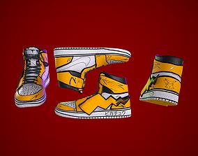 Sneakers nike jordan 1 Pikachu game ready 3D model