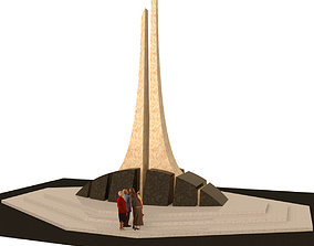 Monument of granite and marble 3D asset realtime