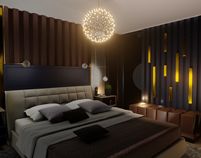 3D model Modern luxurious bedroom