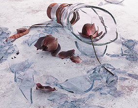 Rose in a broken bottle 3D