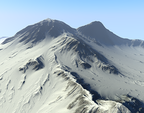 3D model game-ready Snowy Mountain