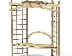 3D model Wooden Garden Seating Alcove