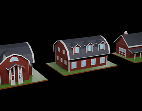 3D model Low Poly Farmhouses Pack
