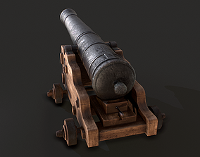 3D model Old Iron Naval Cannon