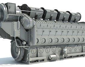 3D Locomotive Electro-Motive Diesel Engine