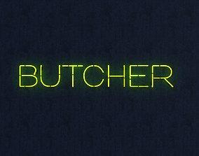 Butcher Neon Sign 3D model VR / AR ready