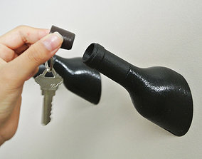 Wine Bottle Shaped Hook 3D print model