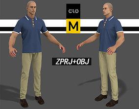 3D Polo Shirt Khaki pants guy Marvelous Designer project