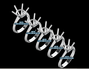 3D printable model solitaire serial wedding ring ROUND