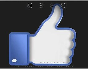 3D asset realtime Thumb up to like on Facebook Icon