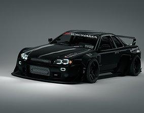 Nissan R34 Skyline widebody twin turbo 3D model