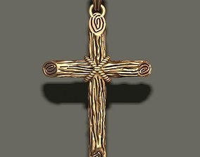 3D printable model cross pendant with wood texture