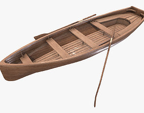 Wooden Boat 3D asset low-poly PBR