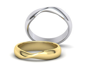 D-shaped Mobius Wedding band 4point5mm 3dmodel 3D print