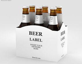 Paper Pack Beer Carrier Mockup carrier 3D