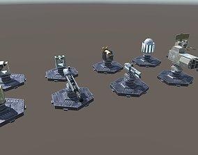 3D asset Modern Unmanned Turrets