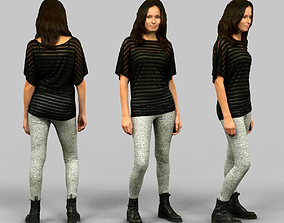 3D asset Girl in White Legging