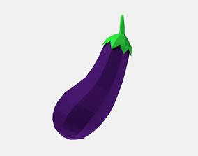 3D model Low Poly Cartoon Eggplant