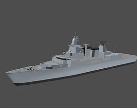 Battleship 3D asset low-poly