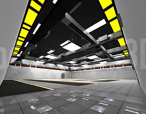 3D asset Empty Data Center Room Low Poly Ready to Render