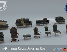 Baroque Rococo Style Seaters Collection 3D model
