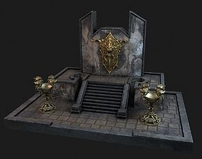 Ancient wall with lampadas and shield 3D model