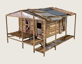 Old wooden shack house 3D asset