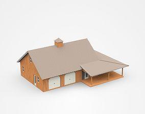 Wooden House With Big Veranda 3D