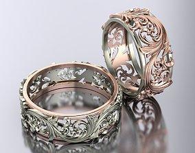 openwork wedding rings 3D print model cad